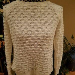 Ann Taylor loft oatmeal cream scoopneck sweater M